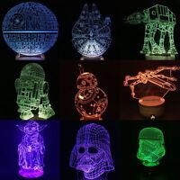 3D Star Wars Night Light 7 Color Changing LED Desk Table Light Lamp Force Awaken
