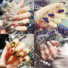 24Pcs Shiny Mirror Long Full Finger False Fake Nails Art Tip With Glue For Party