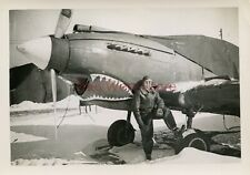 *WWII photo- P 40 Warhawk Fighter plane Nose Art - SHARK MOUTH*
