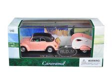 VOLKSWAGEN BEETLE PINK W/CARAVAN TRAILER & CASE 1/43 DIECAST CARARAMA 14706