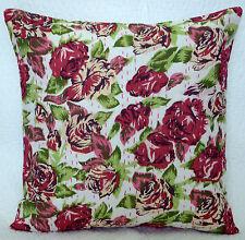 "16"" Indian Handmade White Floral Kantha Cushion Pillow Cover Cotton Throw Decor"