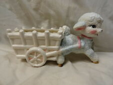 Napco Vintage Baby Lamb and Wagon Planter Pink White Blue Easter Everyday