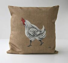"""Housse de coussin motif """"poulette"""" décoration rustique et de charme"""