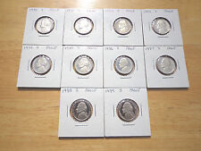 1980 1983 1984 1985 1986 1987 1988 1989 S Proof Jefferson Nickel 10 Coin Set Lot