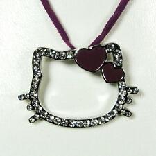 Pendentif Hello Kitty coeur lie de vin-violet cordon lie de vin-violet