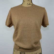 LANDS' END Women's 100% Cashmere Sweater Short Sleeve, Toffee Brown, Size PM
