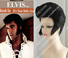 Elvis Aron Presley Hairstyle Black Cosplay Party Natural Hair Wigs