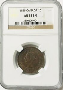 CANADA - Queen Victoria - One Cent - 1888 - Km-7 - NGC AU55 BN
