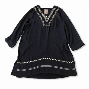 Anthropologie embroidered navy tunic top Sz small