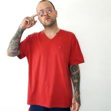 TOMMY HILFIGER V Neck Light Red Oversize Mens Cotton T shirt Top Logo XXL (2XL)