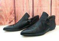 Fausto Santini 39.5 Black Pointed Toe Flats Shoes Leather Made in Italy