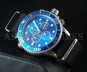 DEEP BLUE 44mm Light Blue Dial & Bezel Master 1000 SAPPHIRE Watch w Extra Strap
