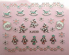 Christmas Tree SILVER Snowflakes Santa Rocking Horse 3D Nail Art Stickers Decals