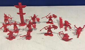 Lot of 13 Vintage Marx 54mm Blood-Red Plastic Indian Playset Figures (lot 3)