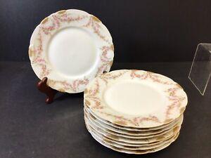 """Antique Haviland Limoges 9 Salad Plates 8"""" Pink Flower Gold Edge Vintage"""