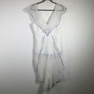 Alice McCall womens jumpsuit size 12 sheer white sleeveless V neck