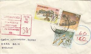 ZIMBABWE 1990? SURCHARD COVER TO ENGLAND  .Rfno.PD37.