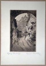 Ernst Strobl. Salzburg. Org. Radierung.