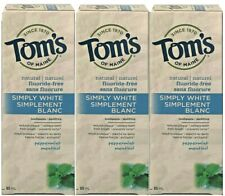 TOMS NATURAL SIMPLY WHITE TOOTHPASTE PEPPERMINT FLUORIDE FREE SHIPPING USA 10/20