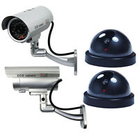 4 Pack Dummy Bullet Dome Surveillance Security Camera Combo - LED Record Light