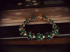 Vintage Butler & Wilson Peridot Emerald Green Crystal  Bracelet Signed