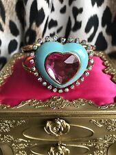 Betsey Johnson Candyland Aqua Blue Candy Heart Pink Rhinestone Hinged Bracelet