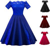 Plus Size XL-5XL Women Swing Dress Lace Panel Off Shoulder Evening Party Dress