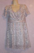 New LadiesTOGETHER silver grey lacey diamonte beaded dress Size 10