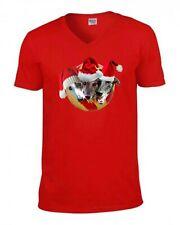 Greyhound Christmas T Shirt V or Crew Neck Red Xmas Tee Greyhounds Tshirt