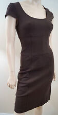 DIANE VON FURSTENBERG Brown Short Sleeve Panelled Fitted Wiggle Dress 4; UK8