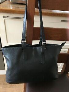 Large soft black grained leather slouchy shoulder bag / shopper, super condition