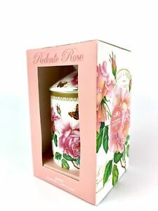 Home Vintage Floral Redoute Rose Print Scented Ceramic Candle Jar Gift Boxed