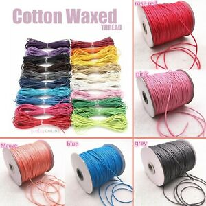 Cotton Waxed Thread Cord Rope Strap For DIY Jewellery Bead Making 10M 1mm 1.5mm