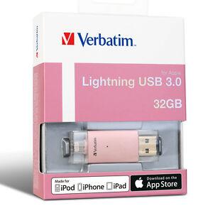 Verbatim 32gb Lightning USB Extended Memory Storage for iPhone 7 SE iPad Gold