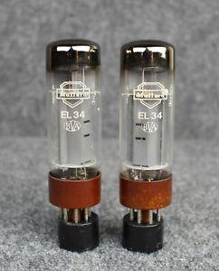 (2) Amperex Mullard EL34 6CA7 Xf4 Tubes ~ Matched Pair ~ TEST STRONG!