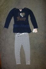 Juicy Couture Girls Navy & White 2 Piece Long Sleeve Set - Size 5 - NWT