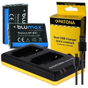2 x Akku NP-BX1 + Dual-Ladegerät für Sony Cyber-Shot DSC-HX400 | DSC-HX400V RX1