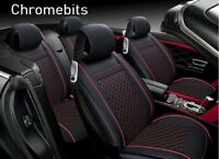 Deluxe Black Red  PU Leather Full set Seat Covers For BMW 3 5 7 X3 X5 X6 series
