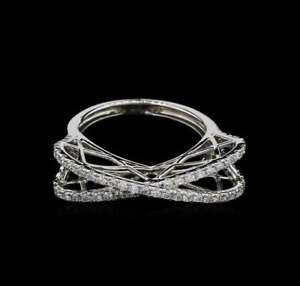 14K White Gold 1.61 CT Diamond Classic Criss Cross Engagement Wedding Ring