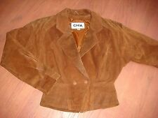 Vtg 80s Brown 100% Leather motorcycle style crop fashion jacket size Small