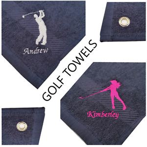Navy Personalised Golf Towel Eyelet Cotton, Embroidered Name or Initials Golfer