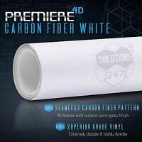 4D White Carbon Fiber Premiere Vinyl Wrap Bubble Free Air Release Custom Cut