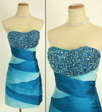 NWT Jovani Size 2 Short Strapless Evening Cruise Prom Dress Blue $550 Club Gown