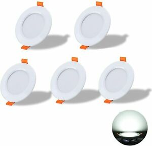 Yafido LED Recessed Ceiling Light 7W  Set of 5 Ultra-Thin Round Downlights