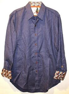 Robert Graham Mens Royal Blue Checks Classic Button-Front Shirt NEW $178 Size S