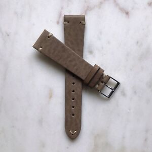 19mm Handmade Beige Taupe Vintage Distressed Genuine Leather Watch Strap Band