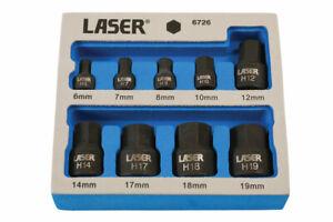 New! Laser 6726 Low Profile Short Impact Hex Allen Socket Bit Set 6-19mm