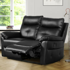 Leather Recliner Sofas 2 Seater Sofa Set Suite Black Couch Settee LAZYBOY Sofa