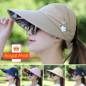 Womens Ladies Summer Wide Brim Foldable Sun Hat Anti-UV Beach Visor Caps Hats..