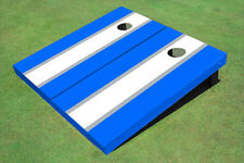 White And Blue Matching Long Stripe Custom Cornhole Board
